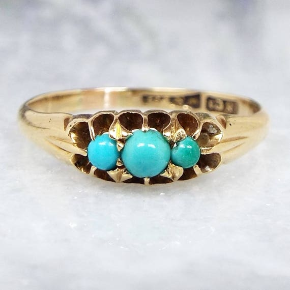 Antique / Victorian Edwardian 18ct Gold Turquoise Cabochon Trilogy Ring / Size M
