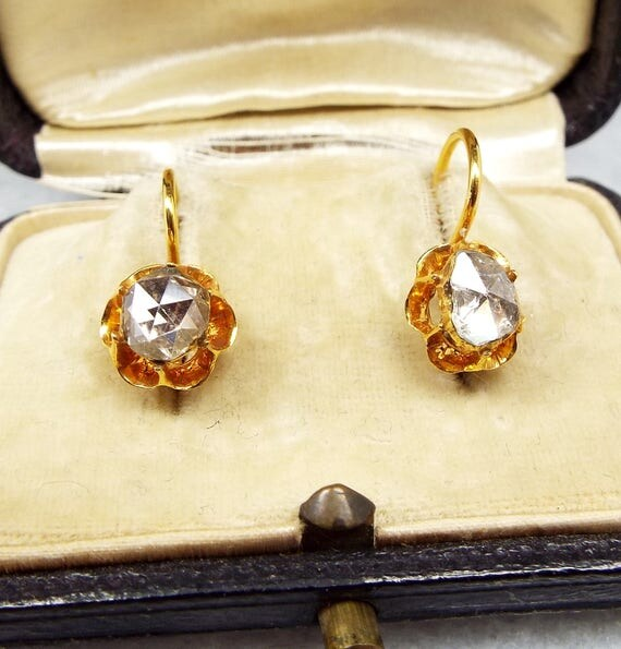 Antique / Victorian 18ct Yellow Gold Rose Cut Diamond Dormeuse Hook Earrings