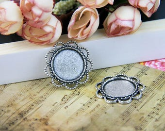 Vintage Photo Glass Cabochons Trays 18mm Circle Blank Cabochon Pendant Trays Cameo Bases Bezels vintage silver antique bronze PTR18-A3805
