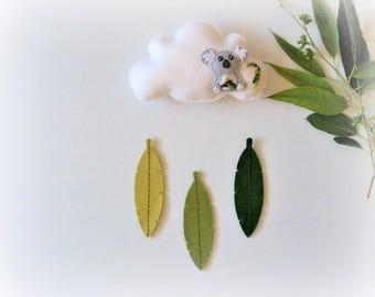 Koala - Pure wool felt Cloud mobile / wall hanging, decoration, nursery, feathers, Australiana, Australia
