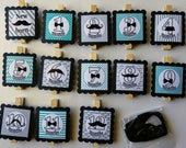 Baby Boy First year photo clip banner mustache bow tie first birthday blue teal monthly banner first year Little man party RIBBON INCLUDED
