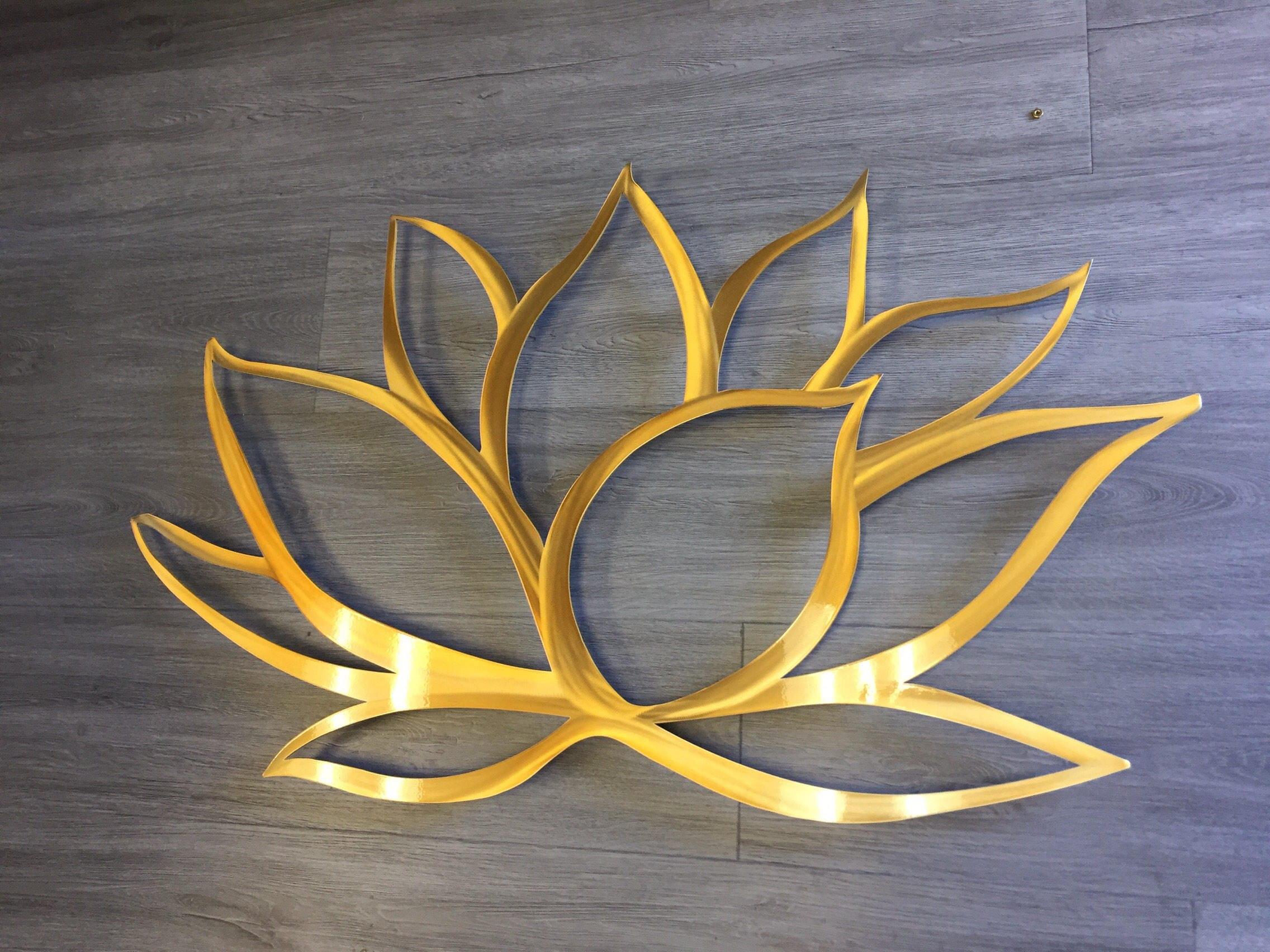 Gold Lotus Flower Metal Wall Art Lotus Metal Art Home