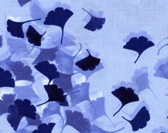 """30"""" REMNANT Harmony - Gingko Leaves in Chambray Blue - Cotton Quilt Fabric - by Kanvas for Benartex Fabrics (W1558)"""