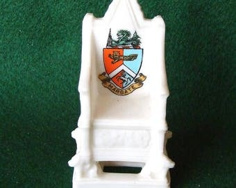 W H Goss Crested China Coronation Chair Margate Crest Ware Rd nr 578694 (1910)