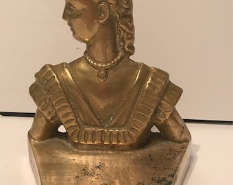 Vintage solid brass Scarlett O'Hara book end / doorstop Gone with the wind