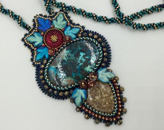 Beautiful pendant necklace, bead embroidery