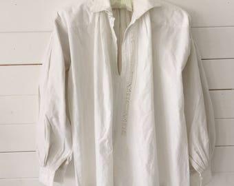 Natural Traditional Linen/Cotton Ladies Shirt Vintage Shepherds Hungarian Folk Hand Sewn Threadwork Stitching Festival Day Wear Peasant