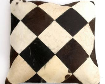 Natural Cowhide Luxurious Patchwork Hairon Cushion/pillow Cover (15''x 15'')a155