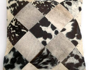 Natural Cowhide Luxurious Patchwork Hairon Cushion/pillow Cover (15''x 15'')a156