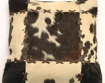 Natural Cowhide Luxurious Patchwork Hairon Cushion/pillow Cover (15''x 15'')a198