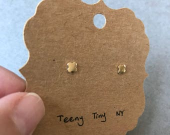 """10K Solid Gold Tiny Clover Stud Earrings - """"10K Solid Yellow Gold"""""""