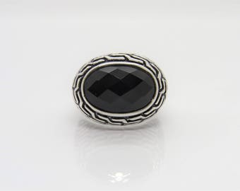 Vintage Sterling Silver Black Onyx Carved Dome Ring Size 8.5