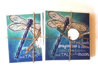 Dragonfly Coaster Set with original art by Cortney Rector Designs