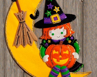 Witching Moon ~ Bucilla Felt Halloween Wall Hanging Kit #86829, Witch Cat Spider