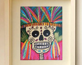 Day of the Dead Original ACEO Card Painting Skull Catrinas Miniature Art ACEO ATC