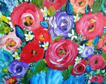 """New work, still life painting , red poppies 12x12 """" Chrissy """""""