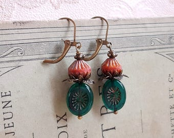 Boho chic earrings emerald Czech glass dangle earrings Pink and green earrings
