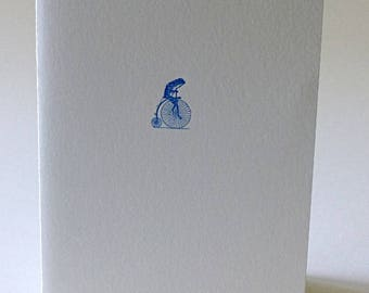 Frog on a Bicycle, letterpress printed