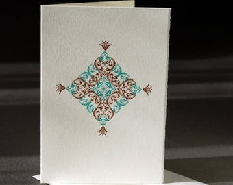 Ornamental card, letterpress printed