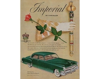 Vintage poster advertisement of a 1952 Chrysler Imperial  ----- 64
