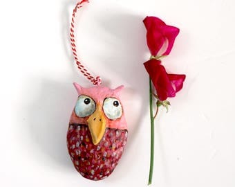 Paper mache owl decoration | Red and Pink | Large | 7,5 cm | 2,9 '' | Cute owl accent