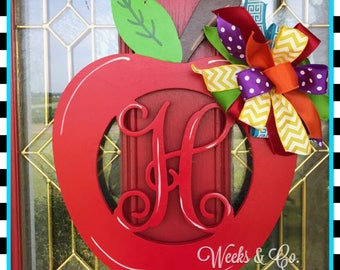 Back to School Apple with Initial Door Hanger Teacher Gift
