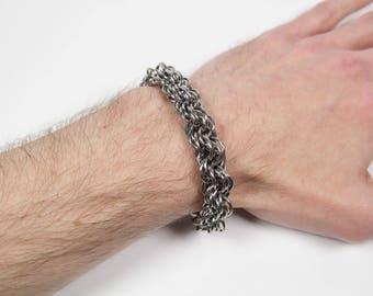 V-Spiral 9 Bracelet, Chainmaille Bracelet, Stainless Steel, Chainmail Bracelet, Maille Bracelet, Mens Bracelet, Spiral Chain, Mens Jewelry