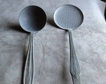 A Pair Of Vintage Antique Aluminum Ladles Made In Germany