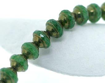 Green Bronze Faceted Saturn Saucer 8x10mm Czech Glass Beads x 10