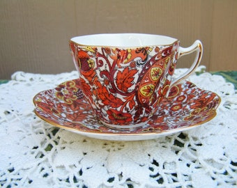 Vintage Rosina Queens Paisley Fall Colors Tea Cup and Saucer  Retro Rosina Paisley Chintz Teacup Saucer Set English Bone China Tea Party
