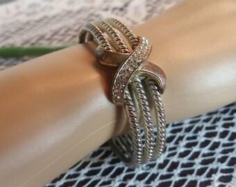 Sterling and Rhinestone Clamper Bracelet Vintage 1980s I Vintage 1980s Costume Jewelry I Rhinestone Jewelry I Sterling Silver Bracelet