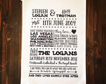 Personalised Love Story Tea Towel for Wedding or Anniversary