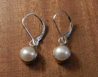Sterling Silver Pearl Lever Back Dangle Earrings