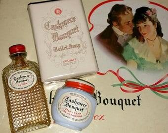 Vintage CASHMERE BOUQUET Vanity Gift Box SET 1930s 40s Boudoir Toiletries Romantic Jewelry Box Milkglass Beauty Jar Milk Glass Bottle Soap