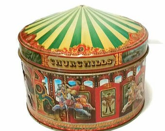 Vintage CAROUSEL MERRY-Go-ROUND Tin Churchills Candy Sweets Tin Jewelry Box, Big Top Circus Childs Room Decor Horse Ride Trinket Box Gift
