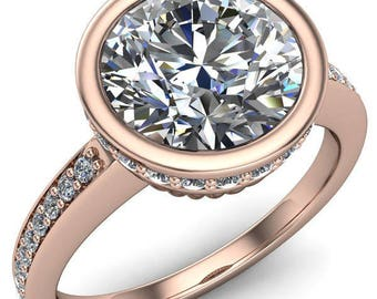 Anna Round Forever One Hearts & Arrows Moissanite Bezel Set Diamond Halo Etched Basket Ring