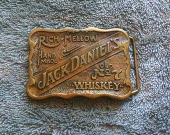 Vintage Jack Daniels Brass Belt Buckle Old No 7 Whiskey Rich Mellow Hand Made Jack Daniel Distillery Serial No C0822