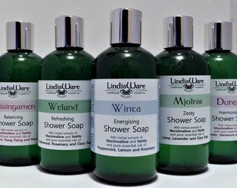 Natural liquid soap, body wash, shower gel, 250ml, plant oils and essential oils
