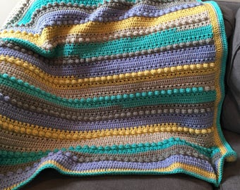 Handmade Baby Blanket in Blue/Grey/Yellow/Teal