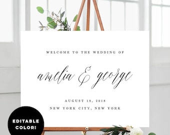 2 Sizes Wedding Welcome Sign Poster Templates With Editable Font Color - Name Calligraphy - Editable PDF Template - Instant Download