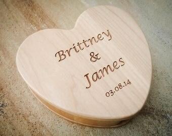 Custom Jewelry Box, Engraved Wood Box, Maple Box, Heart Box, Custom Wedding Box, Keepsake Box, Jewelry Box, Ring Pillow Alternative