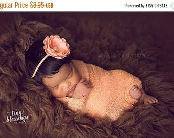 SALE Petite Delaney, Peach Headband, Peach Flower Headband, Baby Girl Headband, Baby Headband, Photo Prop, Newborn Prop, Baby Girl Photo Pro