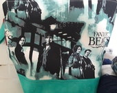 Fantastic Beast / Harry Potter Inspired Tote Bag, Zipper WIP Project Bag, Drawstring Wedge Bottom, JK Rowling World Inspired Tote Bag