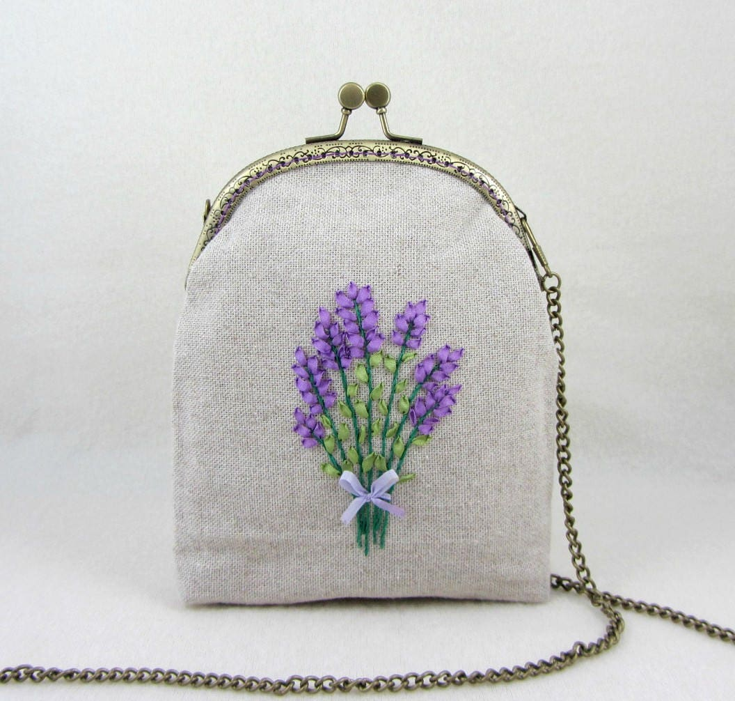 Hand embroidered linen bag purse ribbon