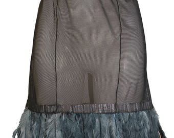 Love Potion Sheer Black Feathered Skirt