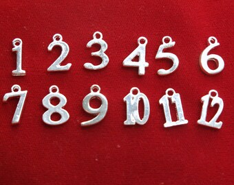 "12pc set ""numbers 1-12"" charms in shiny silver style (BC1241)"