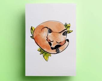 Poster A4 - Sleeping Fox - Illustration - decoration