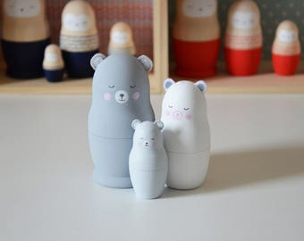 "Russian dolls ""Gray bear family"""