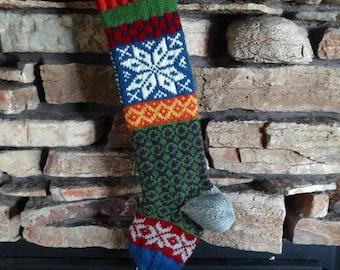 Personalized Christmas Stockings, Custom Knit Christmas Stocking, Christmas Stockings, Knitted Christmas Stockings, Blue Norwegian Snowflake