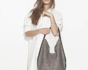 Gray women handbag, leather hobo bag, Soft Leather Bag, Oversized Work Bag, Slouch bag, shoulder purse, market tote bag - Charley Bag